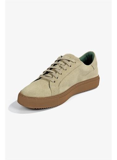 Krähe Corbeau Bej Süet Minimal Sneaker Bej
